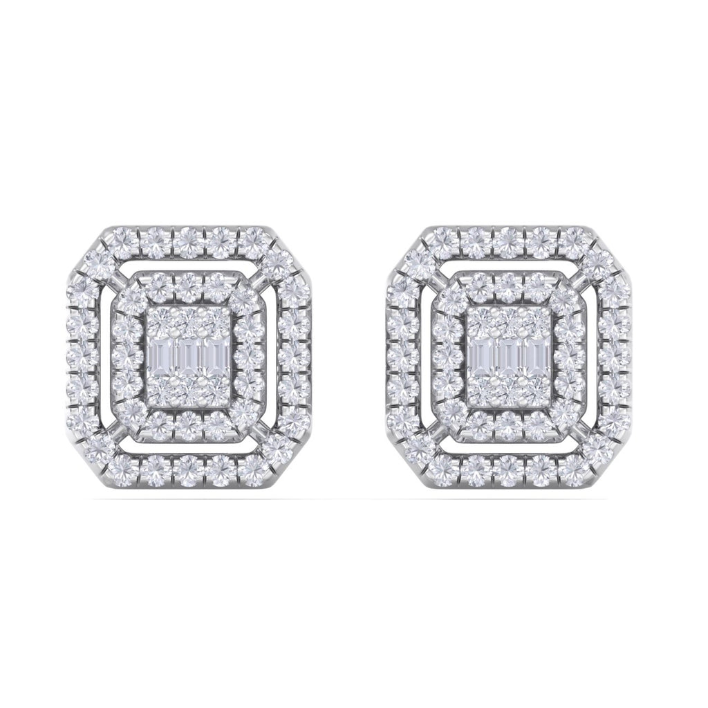 Square stud earrings in white gold with white diamonds of 0.41 ct in weight