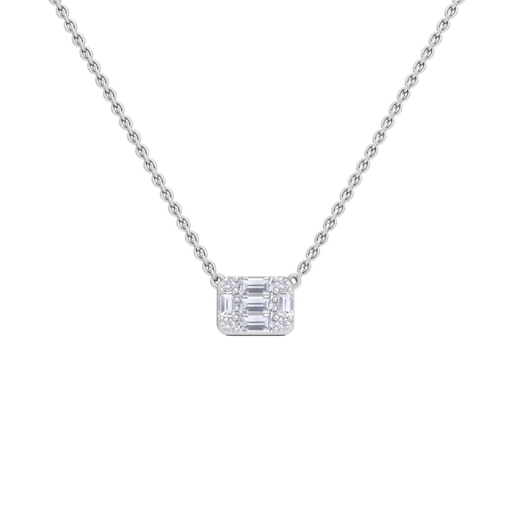 Baguette necklace in yellow gold with white diamonds of 0.57 ct in weight