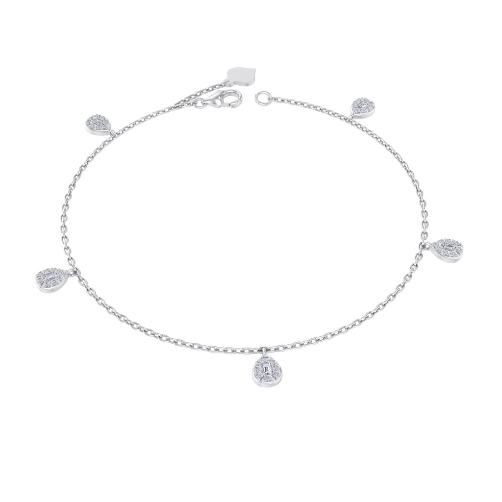 Charm bracelet in white gold with white diamonds of 0.32 ct in weight