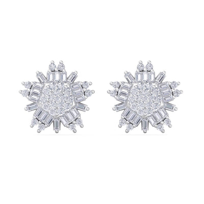 Snowflake earrings in white gold with white diamonds of 0.83 ct in weight