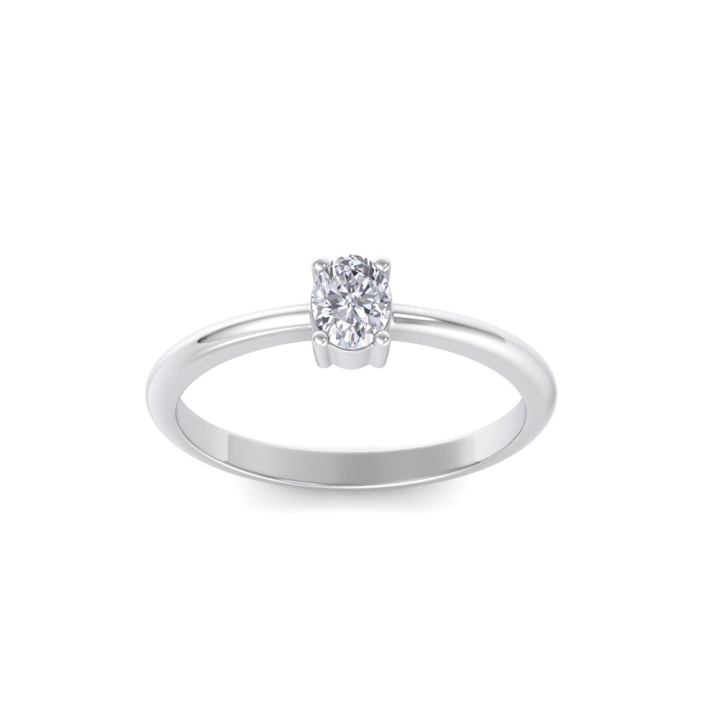 Oval shaped petite diamond ring in white gold with white diamonds of 0.25 ct in weight