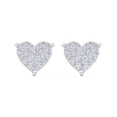Heart earrings in white gold with white diamonds of 1.44 ct in weight