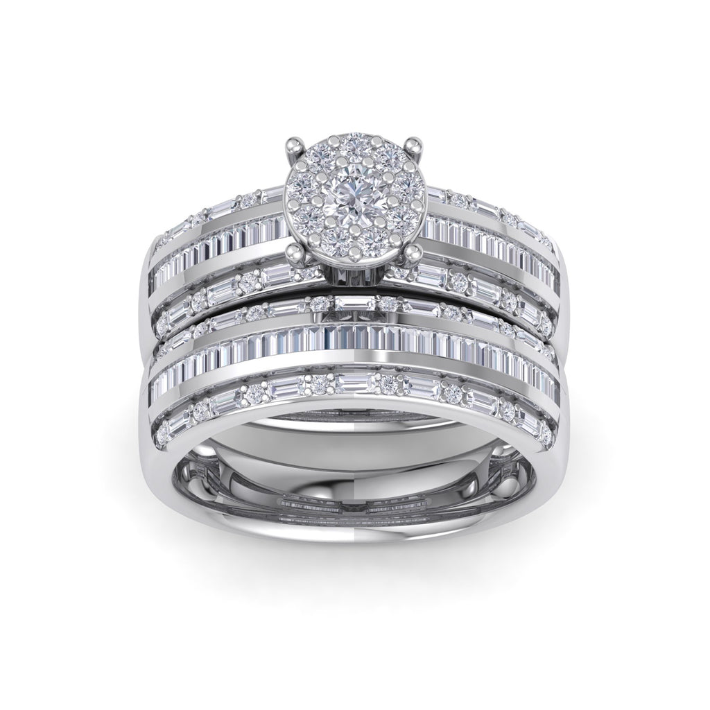 Bridal set in white gold with white diamonds of 1.02 ct in weight