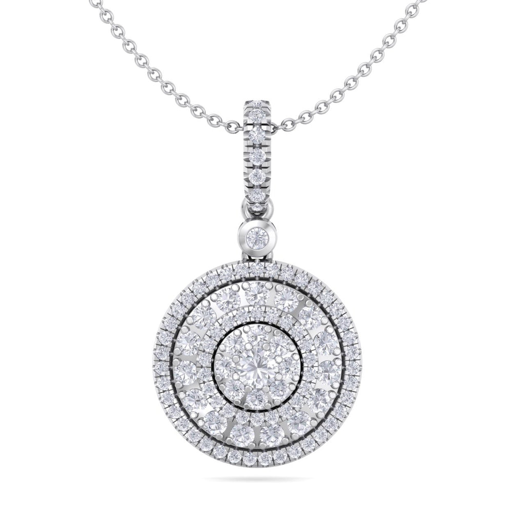 Round pendant in white gold with white diamonds of 0.84 ct in weight - HER DIAMONDS®