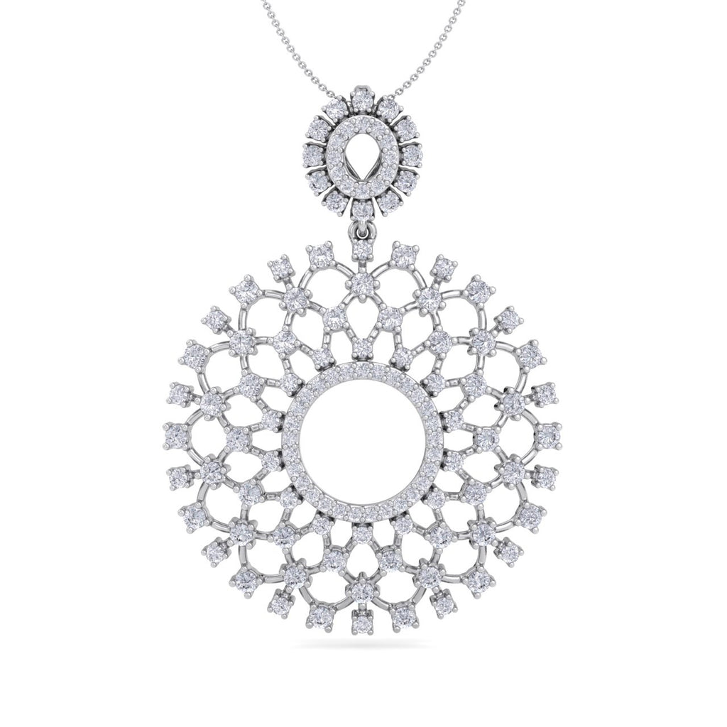 Monogram pendant necklace in white gold with white diamonds of 2.27 ct in weight - HER DIAMONDS®