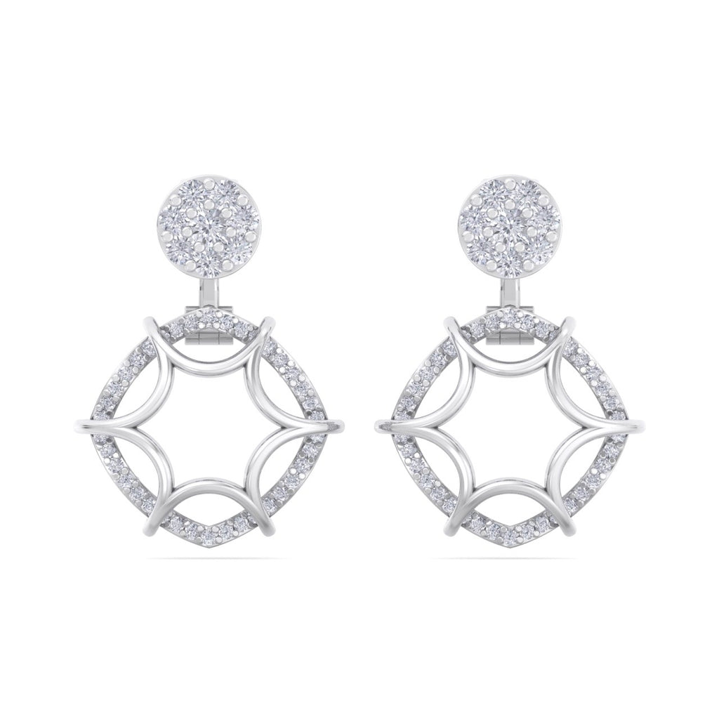 Elegant earrings in white gold with white diamonds of 0.68 ct in weight - HER DIAMONDS®