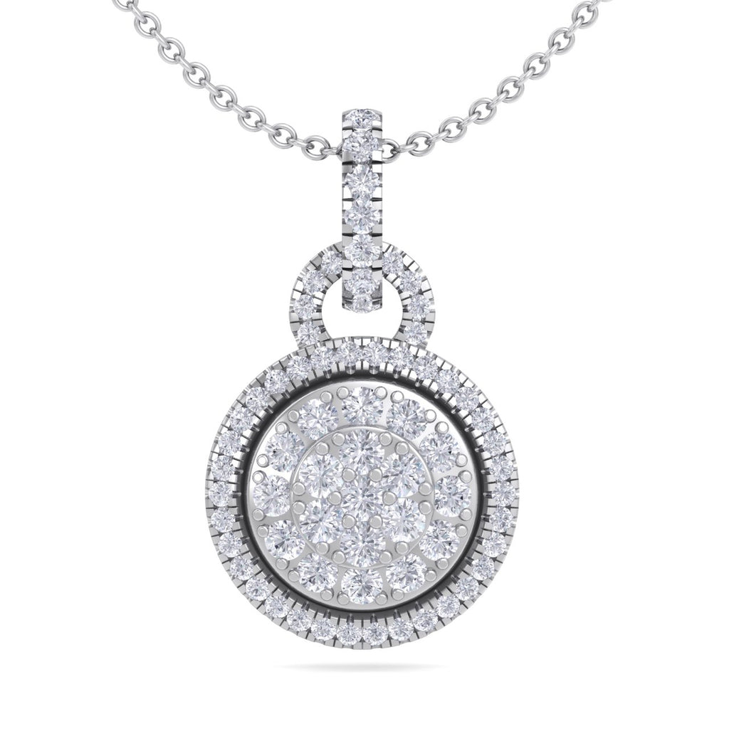 Round pendant in white gold with white diamonds of 0.48 ct in weight - HER DIAMONDS®