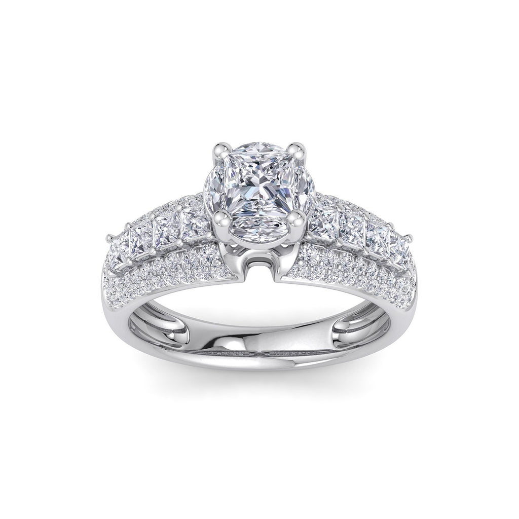 Illusion ring in white gold with white diamonds of 1.72 ct in weight