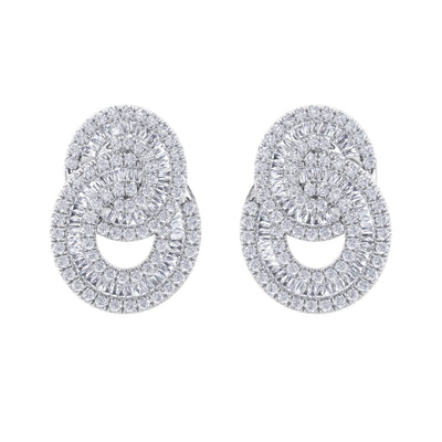 Glam earrings in white gold with white diamonds of 3.24 ct in weight - HER DIAMONDS®