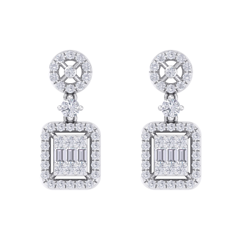 Square drop earrings in white gold with white diamonds of 0.61 ct in weight - HER DIAMONDS®