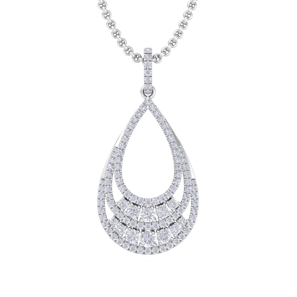 Tear-drop pendant in white gold with white diamonds of 1.84 ct in weight