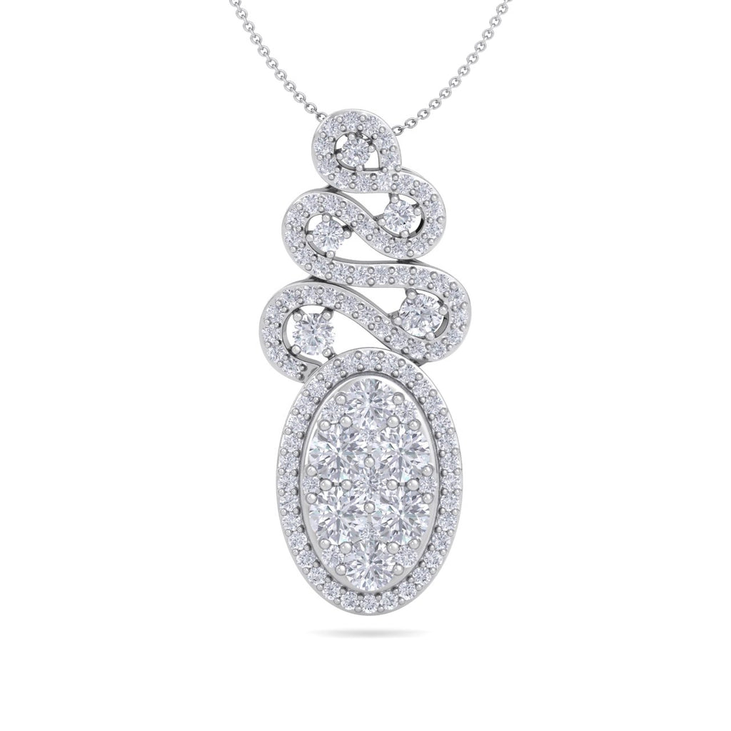 Long oval shaped pendant necklace in white gold with white diamonds of 1.34 ct in weight - HER DIAMONDS®
