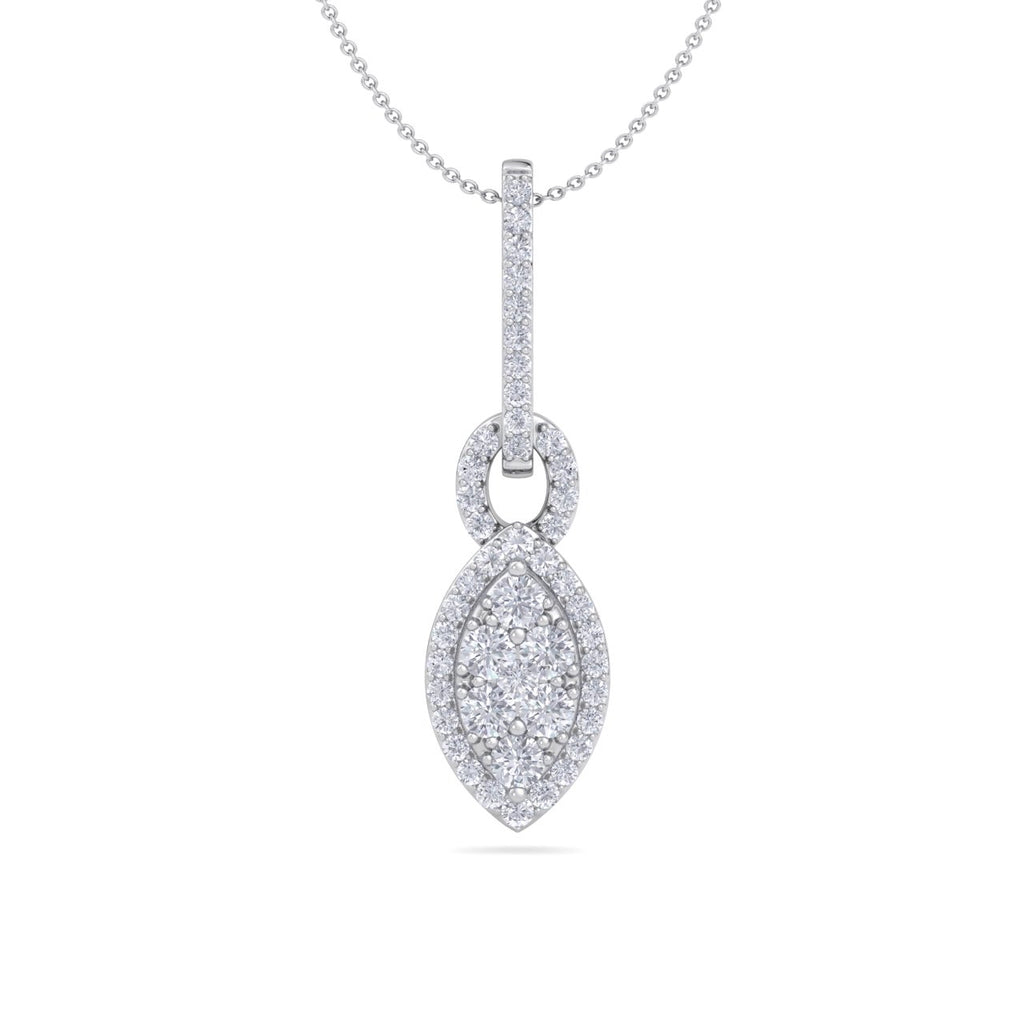 Marquise shaped drop pendant necklace in white gold with white diamonds of 0.48 ct in weight - HER DIAMONDS®