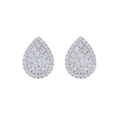Pear shaped stud earrings in white gold with white diamonds of 1.01 ct in weight