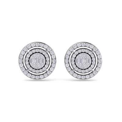 Round stud earrings in white gold with white diamonds of 0.57 ct in weight - HER DIAMONDS®