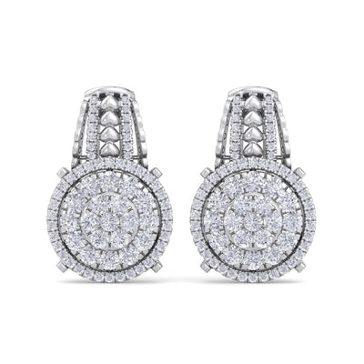 Drop earring with hearts in white gold with white diamonds of 1.39 ct in weight - HER DIAMONDS®