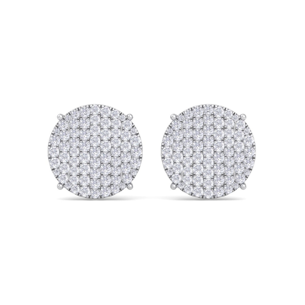Round diamond stud earring with four-prong in white gold with white diamonds of 2.95 ct in weight - HER DIAMONDS®