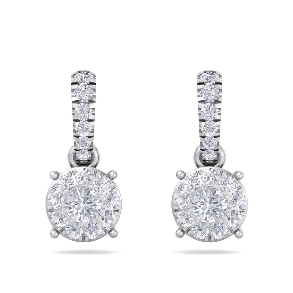 Classic earrings in white gold with white diamonds of 0.51 ct in weight - HER DIAMONDS®