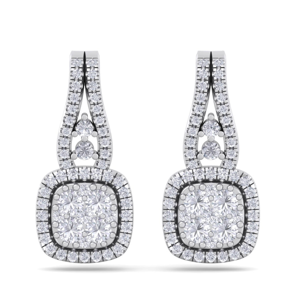 Square earrings in white gold with white diamonds of 0.73 ct in weight - HER DIAMONDS®