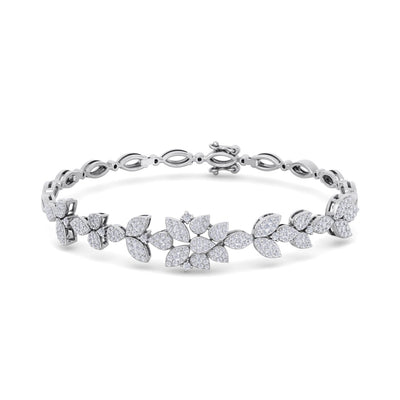 """The Garden"" bracelet in white gold with white diamonds of 1.60 ct in weight - HER DIAMONDS®"