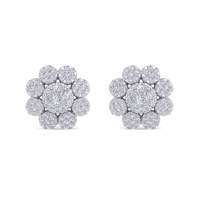 Flower-shaped earrings in white gold with white diamonds of 3.02 ct in weight - HER DIAMONDS®