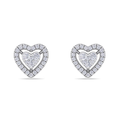 Heart stud earrings in white gold with white diamonds of 0.93 ct in weight - HER DIAMONDS®