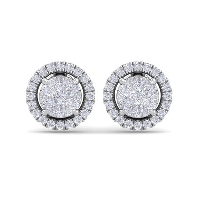 Classic round stud earrings in white gold with white diamonds of 0.86 ct in weight - HER DIAMONDS®