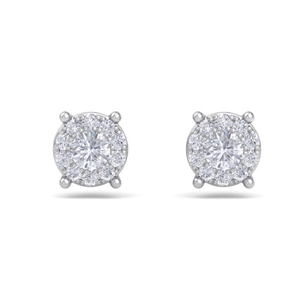 Solitaire stud earrings in white gold with white diamonds of 0.23 ct in weight - HER DIAMONDS®