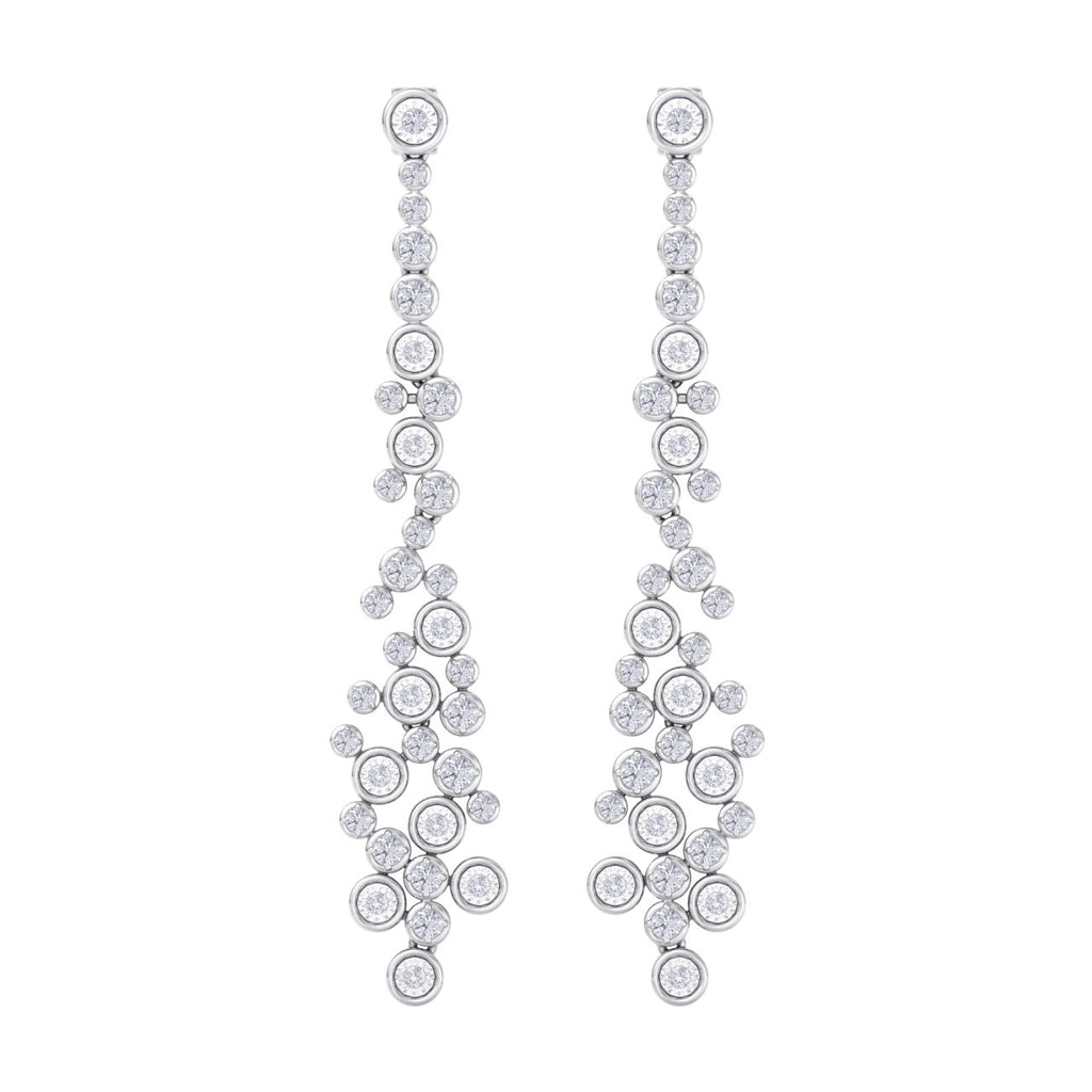 Chandelier earrings with miracle plates in white gold with white diamonds of 2.04 ct in weight