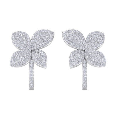 Flower french clip earrings in white gold with white diamonds of 1.41 ct in weight