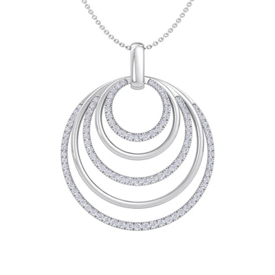 Pendant necklace with circles in white gold with white diamonds of 3.12 ct in weight - HER DIAMONDS®