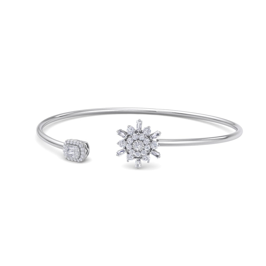 Snowflake shape bangle in white gold with white diamonds of 0.40 ct in weight - HER DIAMONDS®