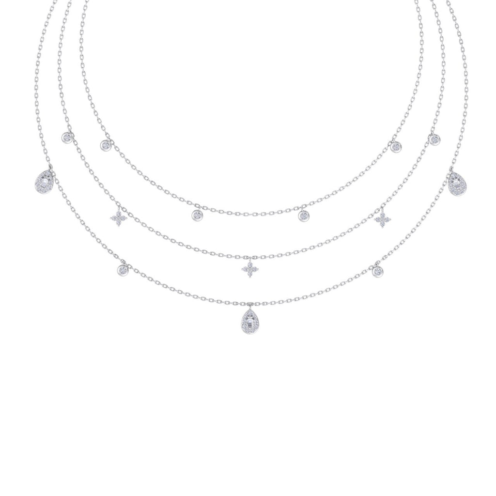 Multi-strand necklace in white gold with white diamonds of 0.82 ct in weight - HER DIAMONDS®