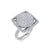 Square shape ring in white gold with white diamonds of 0.97 ct in weight