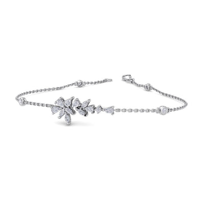 Flower shape bracelet in white gold with white diamonds of 0.67 ct in weight - HER DIAMONDS®