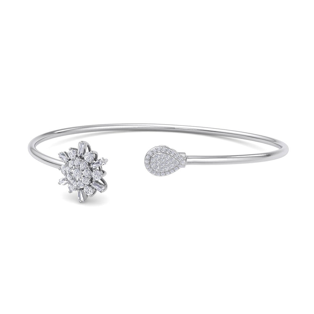 Snowflake shape bangle in white gold with white diamonds of 0.50 ct in weight - HER DIAMONDS®