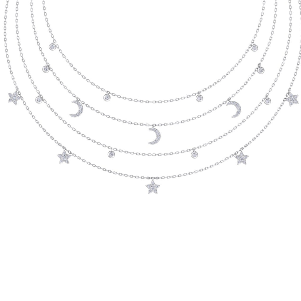 Night sky necklace in white gold with white diamonds of 0.81 ct in weight - HER DIAMONDS®