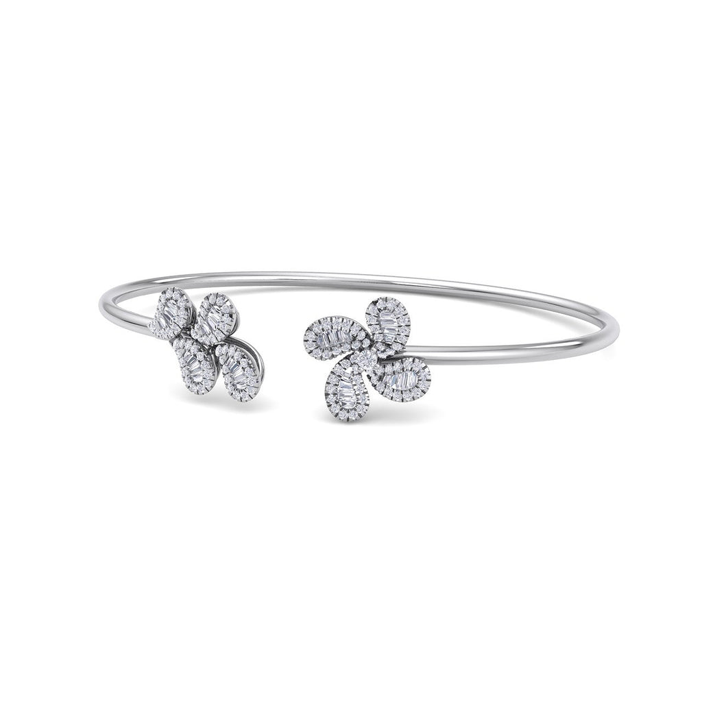 Bangle in white gold with white diamonds of 0.65 ct in weight - HER DIAMONDS®