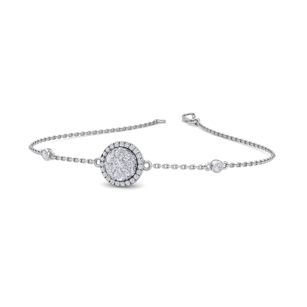 Round shape bracelet in white gold with white diamonds of 0.67 ct in weight - HER DIAMONDS®