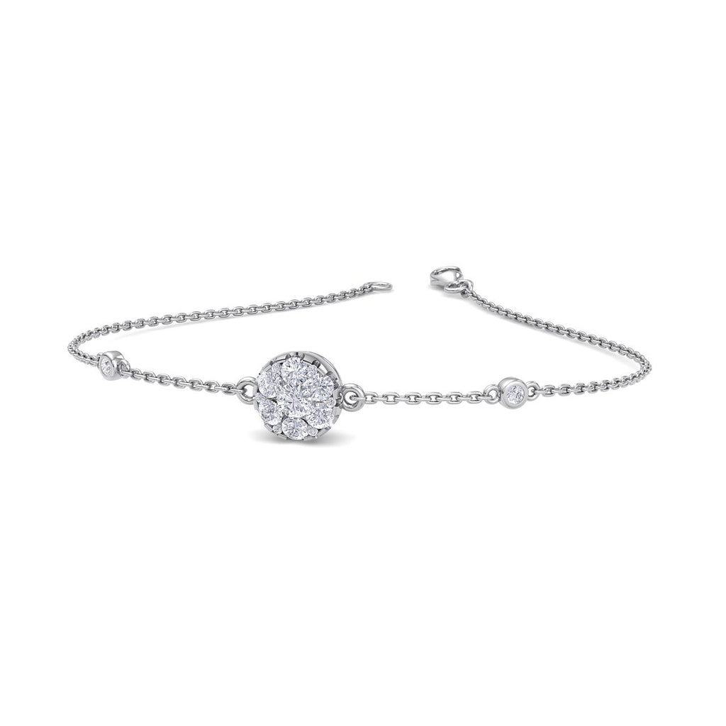 Round shape bracelet in white gold with diamonds of 0.42 ct in weight - HER DIAMONDS®