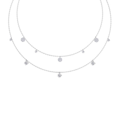 Multi-strand necklace in white gold with white diamonds of 0.50 ct in weight - HER DIAMONDS®