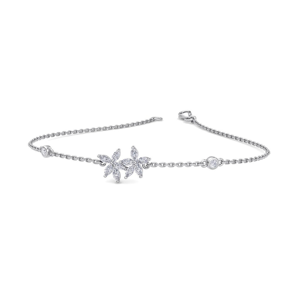 Two of a kind bracelet in white gold with white diamonds of 0.63 ct in weight - HER DIAMONDS®