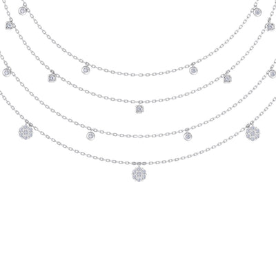 Multi-strand necklace in white gold with white diamonds of 0.83 ct in weight - HER DIAMONDS®