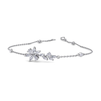 Flower bracelet in white gold with white diamonds of 0.97 ct in weight - HER DIAMONDS®