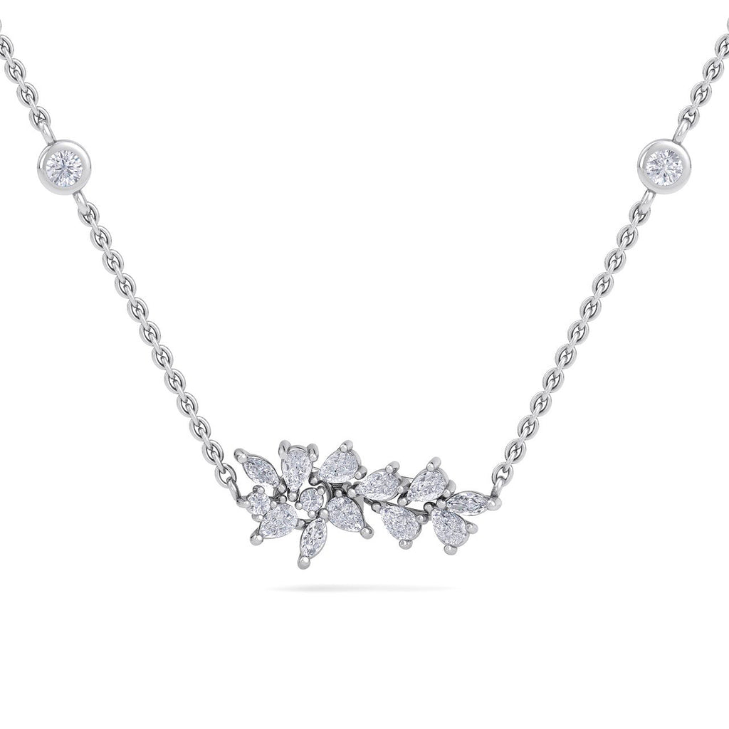 Flower shape necklace in white gold with white diamonds of 0.60 ct in weight - HER DIAMONDS®