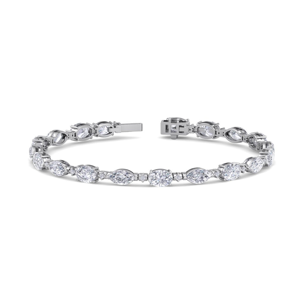 Marquise bracelet in white gold with white diamonds of 8.69 ct in weight - HER DIAMONDS®