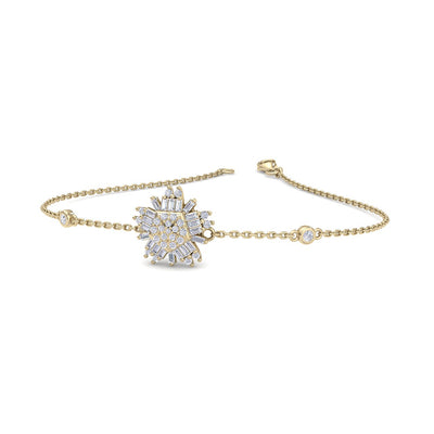 Snowflake shaped bracelet in yellow gold with white diamonds of 0.31 ct in weight - HER DIAMONDS®