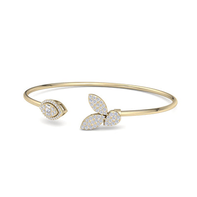Leaf shape bangle in yellow gold with white diamonds of 0.54 ct in weight - HER DIAMONDS®