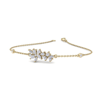 Flower shape bracelet in yellow gold with white diamonds of 0.65 ct in weight - HER DIAMONDS®
