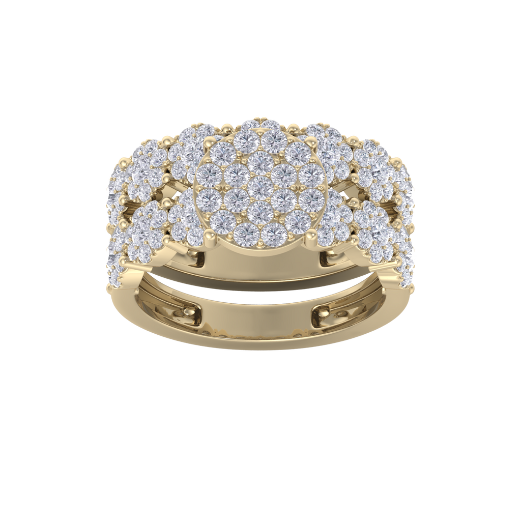 Diamond ring in yellow gold with white diamonds of 1.75 ct in weight